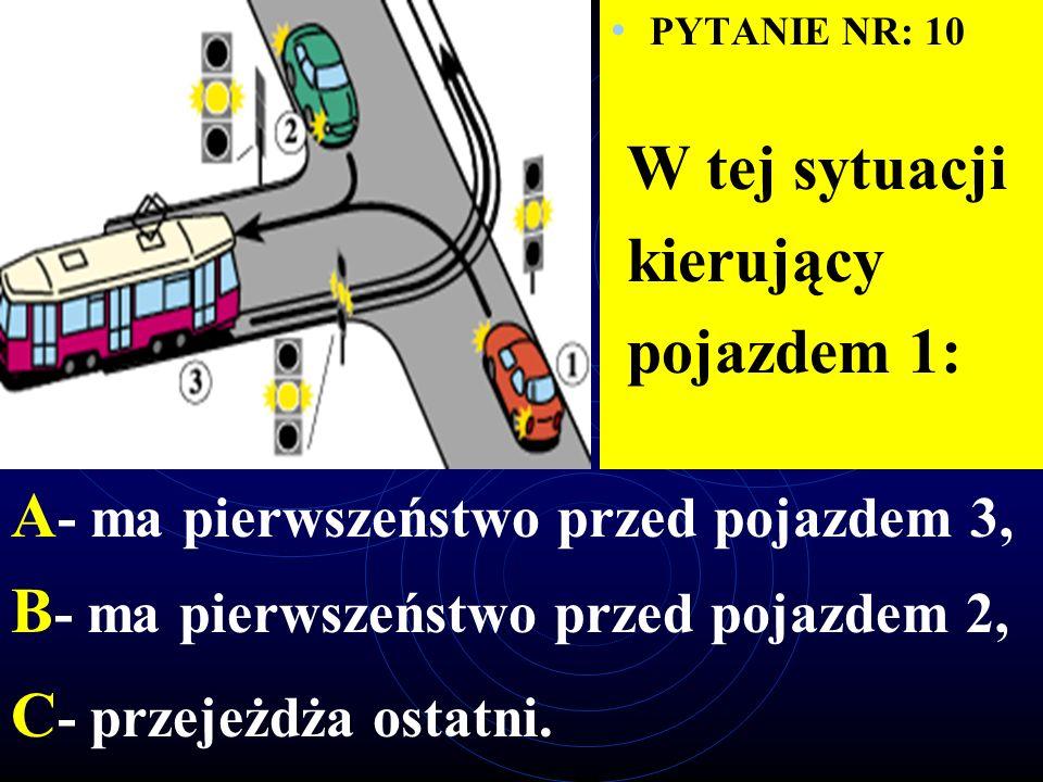 PYTANIE NR: 9 W tej sytuacji kierujący pojazdem 1: A - ustępuje pierwszeństwa pojazdowi 2, B - ustępuje pierwszeństwa pojazdowi 3, C - ustępuje pierwszeństwa pojazdowi 4.