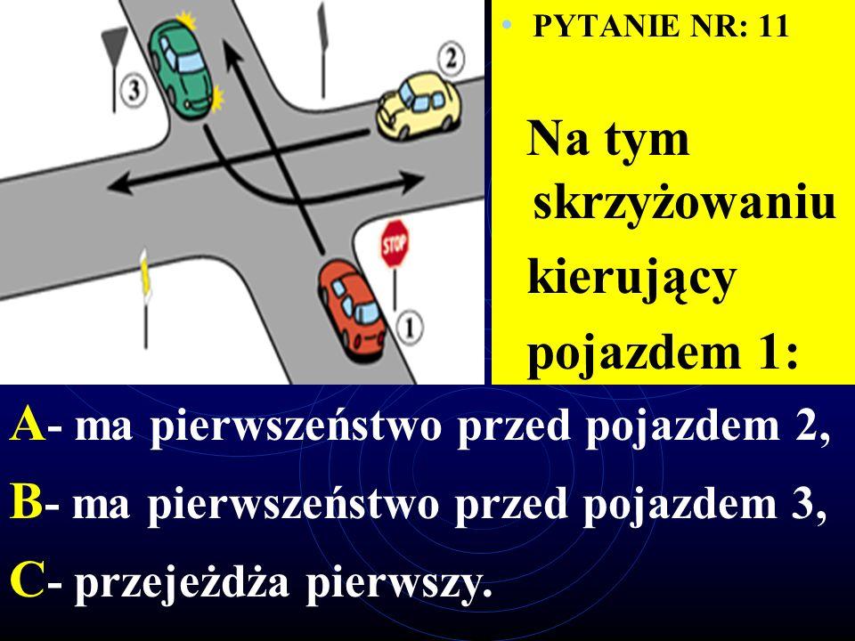 PYTANIE NR: 10 W tej sytuacji kierujący pojazdem 1: A - ma pierwszeństwo przed pojazdem 3, B - ma pierwszeństwo przed pojazdem 2, C - przejeżdża ostatni.