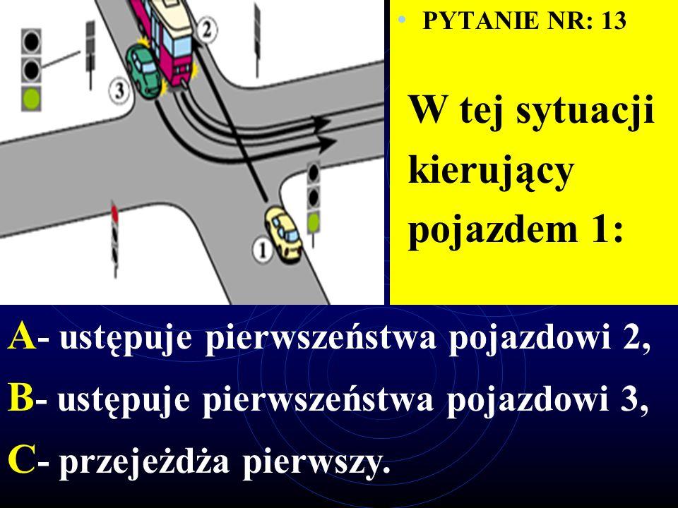 PYTANIE NR: 12 W tej sytuacji kierujący pojazdem 1: A - ma pierwszeństwo przed pojazdem 2, B - ma pierwszeństwo przed pojazdem 3, C - ma pierwszeństwo przed pojazdem 4.