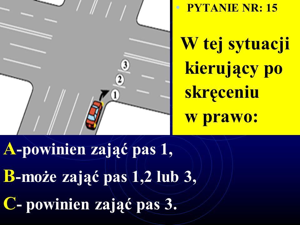 PYTANIE NR: 14 W tej sytuacji skrzyżowanie może opuścić pojazd: A -1, B -2, C -3.