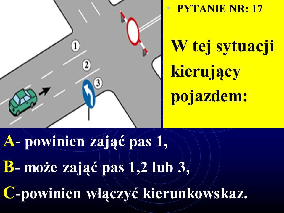 PYTANIE NR: 16 W tej sytuacji kierujący po skręceniu w lewo: A - powinien zająć pas 3, B - powinien zająć pas 1, C - może zająć pas 1,2 lub 3.