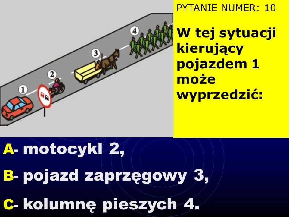 PYTANIE NUMER: 9 Taka postawa kierującego ruchem oznacza, że wjazd na skrzyżowanie jest: A - zabroniony, B - dozwolony, C - że będzie zmiana nadawaneg