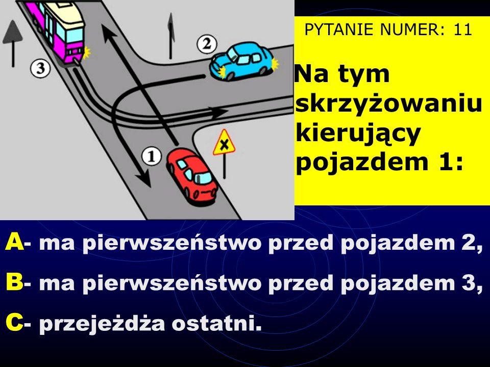 PYTANIE NUMER: 10 W tej sytuacji kierujący pojazdem 1 może wyprzedzić: A - motocykl 2, B - pojazd zaprzęgowy 3, C - kolumnę pieszych 4.