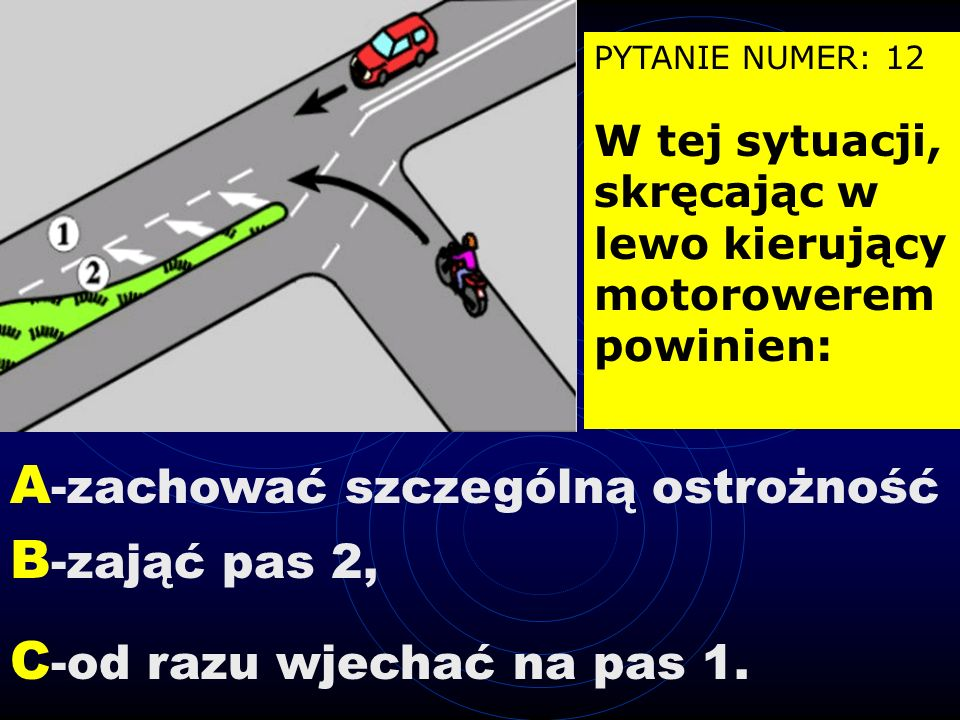Wylosowano zestaw pytań numer: 15 PYTANIE NUMER: 11 Na tym skrzyżowaniu kierujący pojazdem 1: A - ma pierwszeństwo przed pojazdem 2, B - ma pierwszeńs