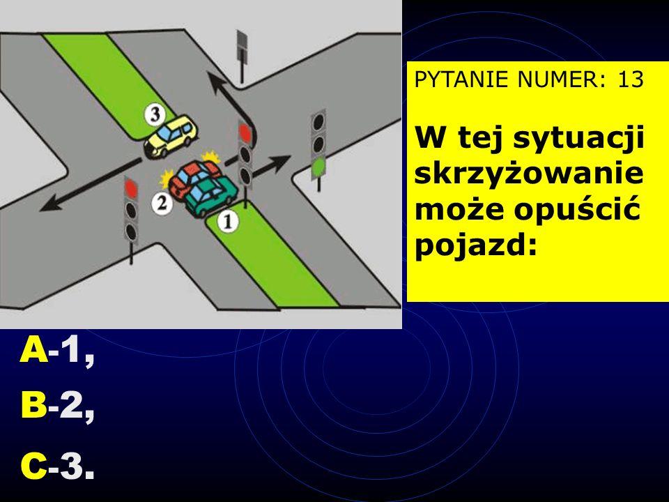 PYTANIE NUMER: 12 W tej sytuacji, skręcając w lewo kierujący motorowerem powinien: A -zachować szczególną ostrożność B -zająć pas 2, C -od razu wjecha