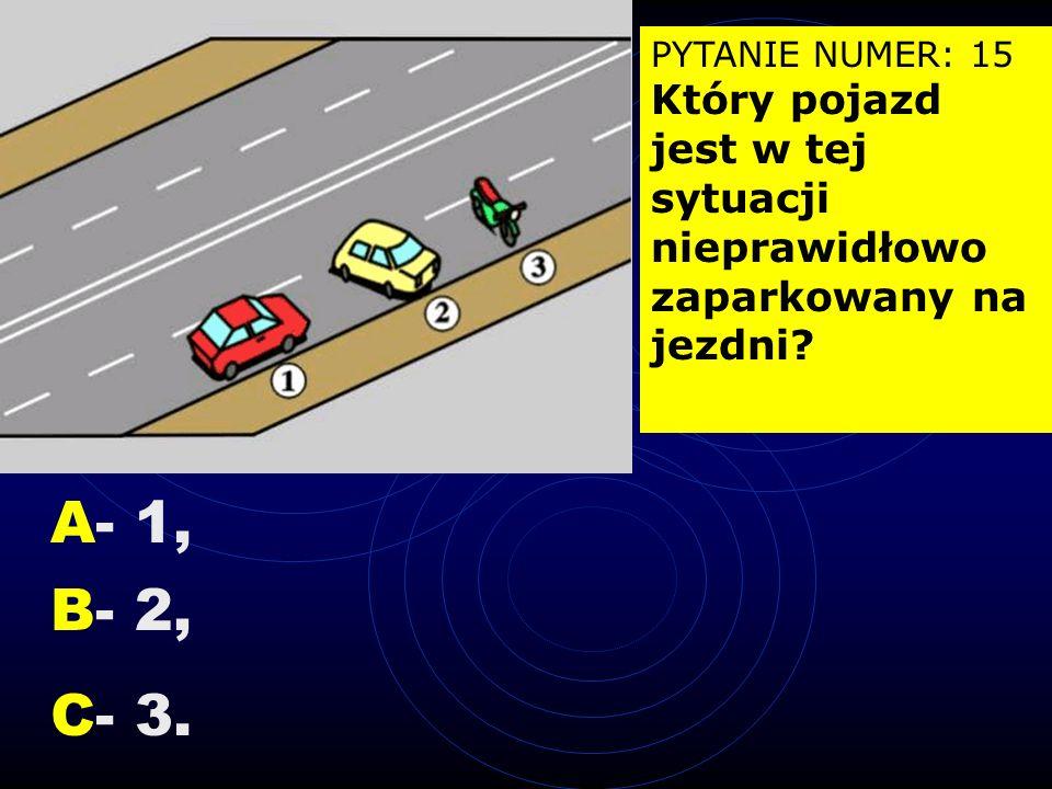 PYTANIE NUMER: 14 Znak ten zabrania przejeżdżania na sąsiedni pas ruchu: A- z obu stron linii, B- od strony linii przerywanej, C- od strony linii ciąg