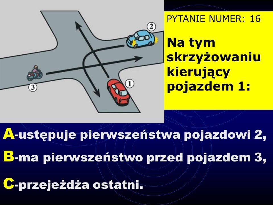 PYTANIE NUMER: 15 Który pojazd jest w tej sytuacji nieprawidłowo zaparkowany na jezdni? A- 1, B- 2, C- 3.