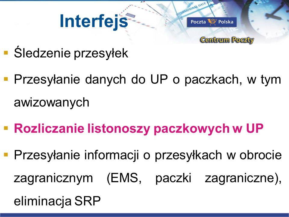 Interfejs Śledzenie przesyłek Przesyłanie danych do UP o paczkach, w tym awizowanych Rozliczanie listonoszy paczkowych w UP Przesyłanie informacji o p
