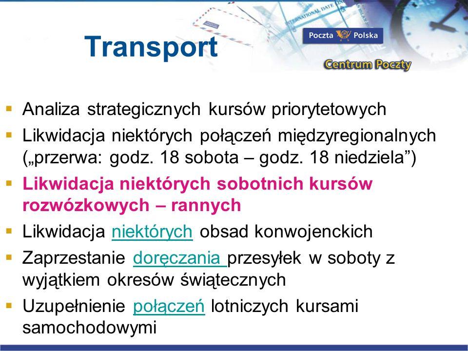 Transport Analiza strategicznych kursów priorytetowych Likwidacja niektórych połączeń międzyregionalnych (przerwa: godz. 18 sobota – godz. 18 niedziel