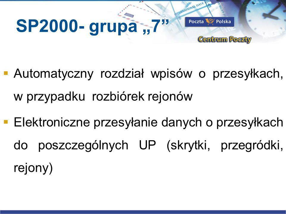 SP2000- grupa 7 Automatyczny rozdział wpisów o przesyłkach, w przypadku rozbiórek rejonów Elektroniczne przesyłanie danych o przesyłkach do poszczególnych UP (skrytki, przegródki, rejony)