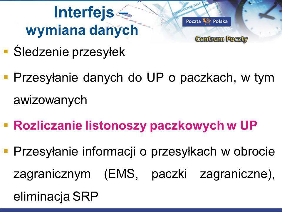 Interfejs – wymiana danych Śledzenie przesyłek Przesyłanie danych do UP o paczkach, w tym awizowanych Rozliczanie listonoszy paczkowych w UP Przesyłanie informacji o przesyłkach w obrocie zagranicznym (EMS, paczki zagraniczne), eliminacja SRP