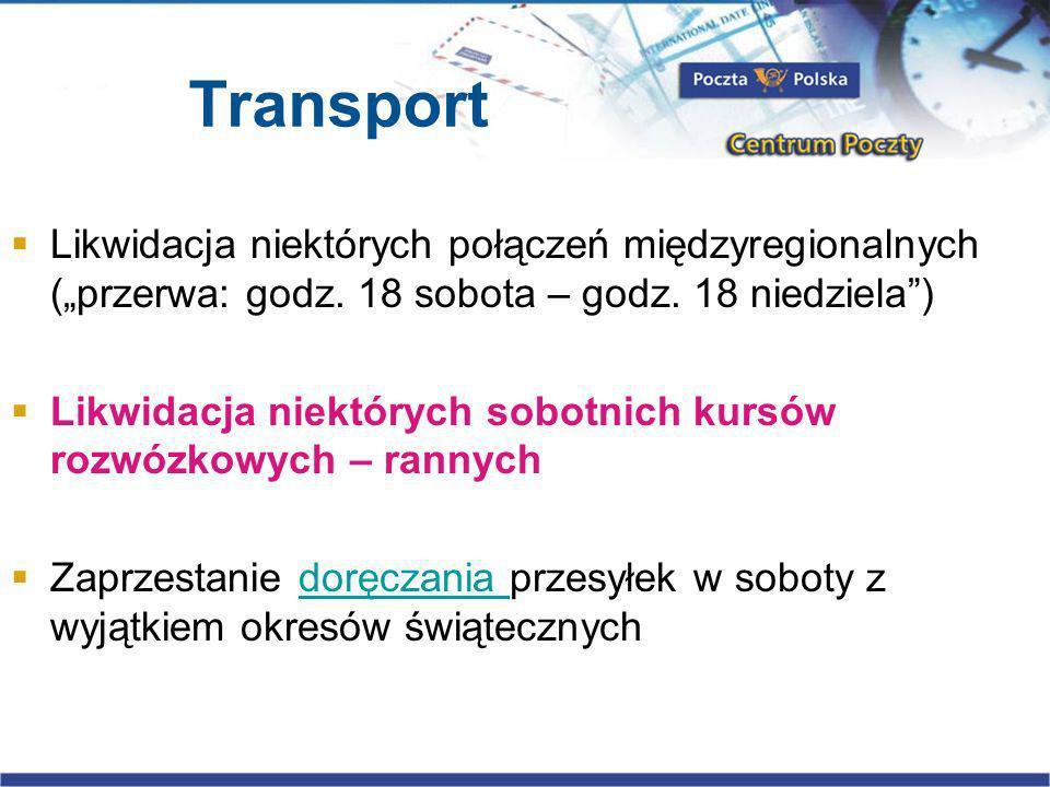 Transport Likwidacja niektórych połączeń międzyregionalnych (przerwa: godz.