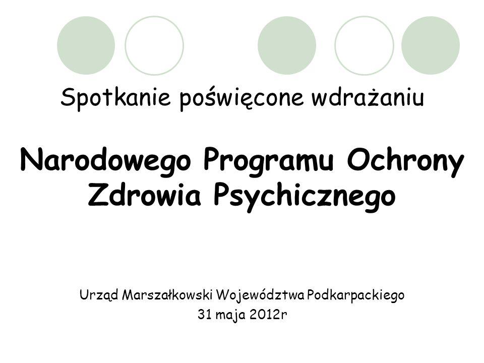 Spotkanie poświęcone wdrażaniu Narodowego Programu Ochrony Zdrowia Psychicznego Urząd Marszałkowski Województwa Podkarpackiego 31 maja 2012r