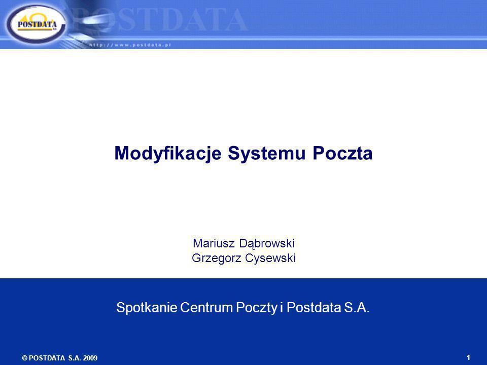 © POSTDATA S.A. 2009 1 Modyfikacje Systemu Poczta Mariusz Dąbrowski Grzegorz Cysewski Spotkanie Centrum Poczty i Postdata S.A.