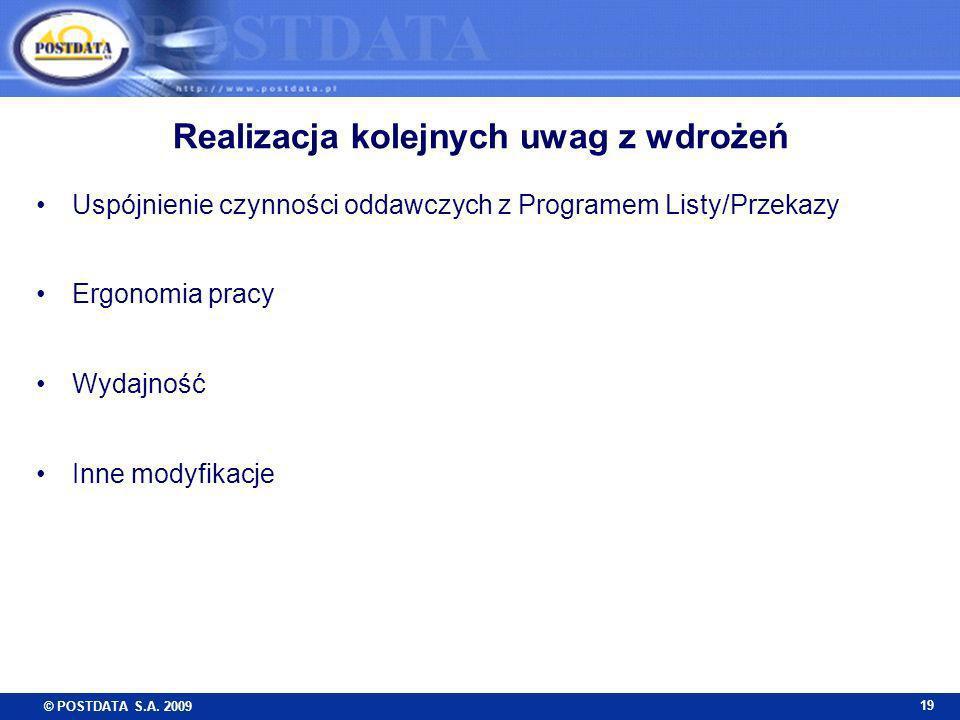 © POSTDATA S.A. 2009 19 Realizacja kolejnych uwag z wdrożeń Uspójnienie czynności oddawczych z Programem Listy/Przekazy Ergonomia pracy Wydajność Inne