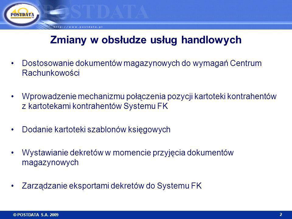 © POSTDATA S.A. 2009 2 Zmiany w obsłudze usług handlowych Dostosowanie dokumentów magazynowych do wymagań Centrum Rachunkowości Wprowadzenie mechanizm
