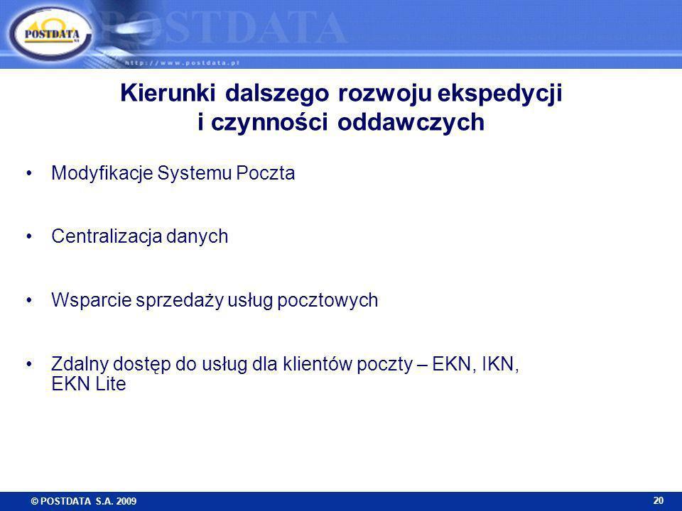 © POSTDATA S.A. 2009 20 Kierunki dalszego rozwoju ekspedycji i czynności oddawczych Modyfikacje Systemu Poczta Centralizacja danych Wsparcie sprzedaży