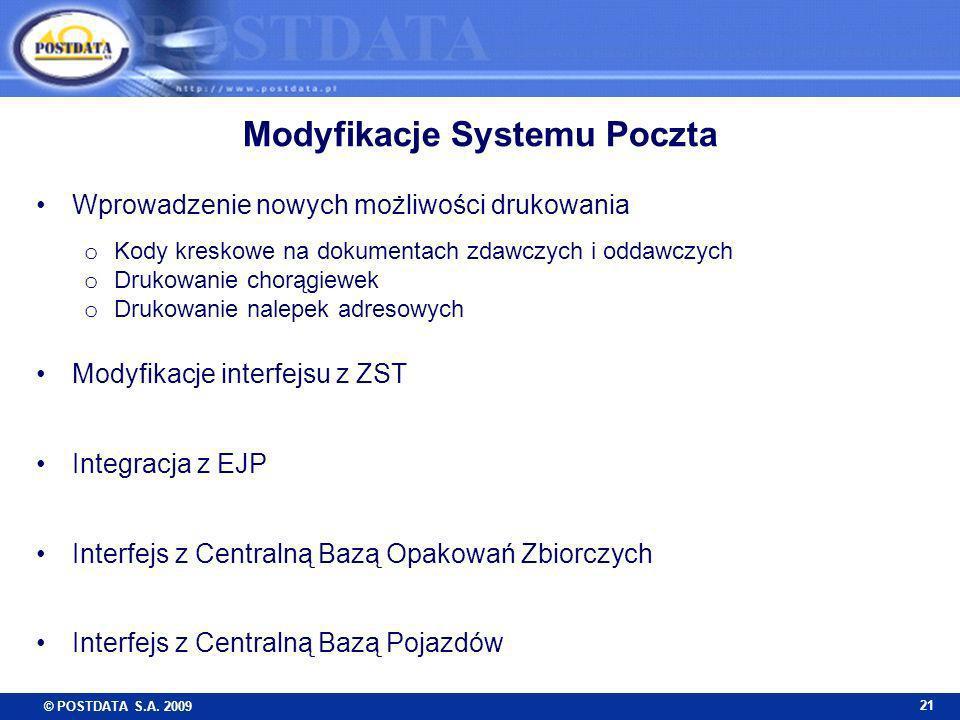 © POSTDATA S.A. 2009 21 Modyfikacje Systemu Poczta Wprowadzenie nowych możliwości drukowania o Kody kreskowe na dokumentach zdawczych i oddawczych o D