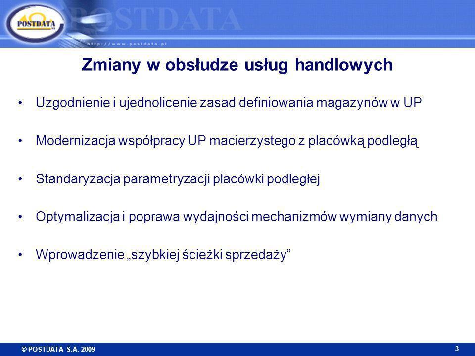© POSTDATA S.A. 2009 3 Zmiany w obsłudze usług handlowych Uzgodnienie i ujednolicenie zasad definiowania magazynów w UP Modernizacja współpracy UP mac