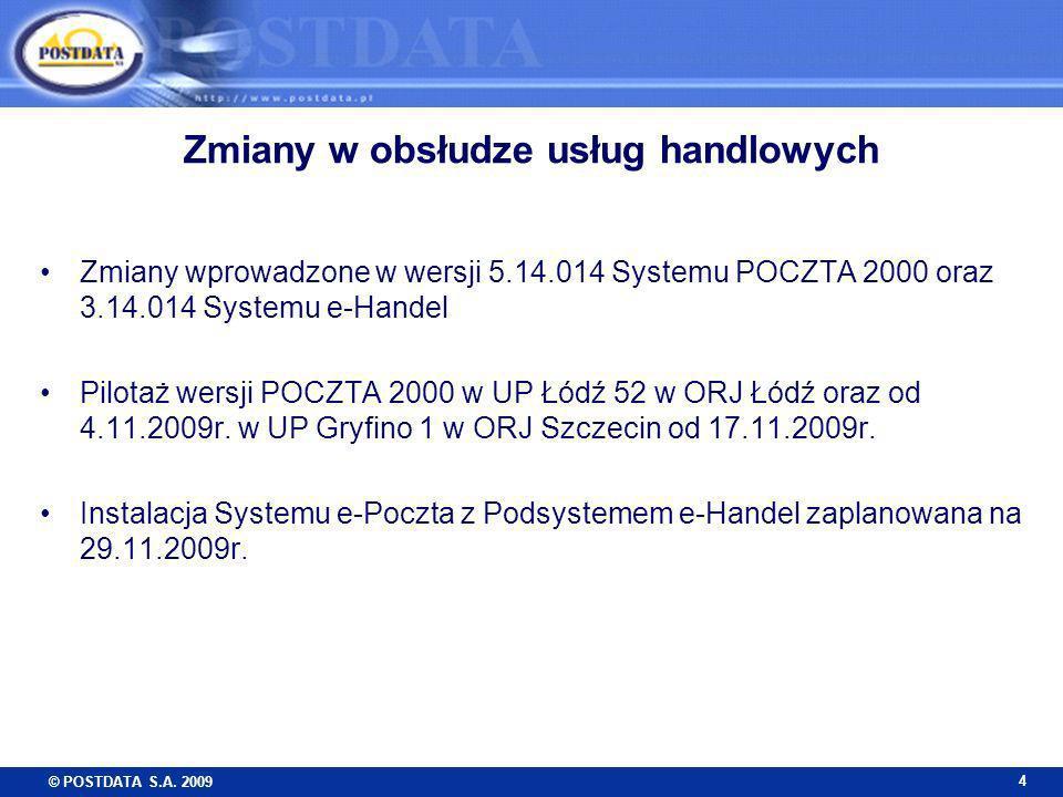 © POSTDATA S.A. 2009 4 Zmiany w obsłudze usług handlowych Zmiany wprowadzone w wersji 5.14.014 Systemu POCZTA 2000 oraz 3.14.014 Systemu e-Handel Pilo