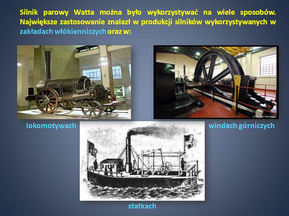 Silnik parowy Watta można było wykorzystywać na wiele sposobów. Największe zastosowanie znalazł w produkcji silników wykorzystywanych w zakładach włók