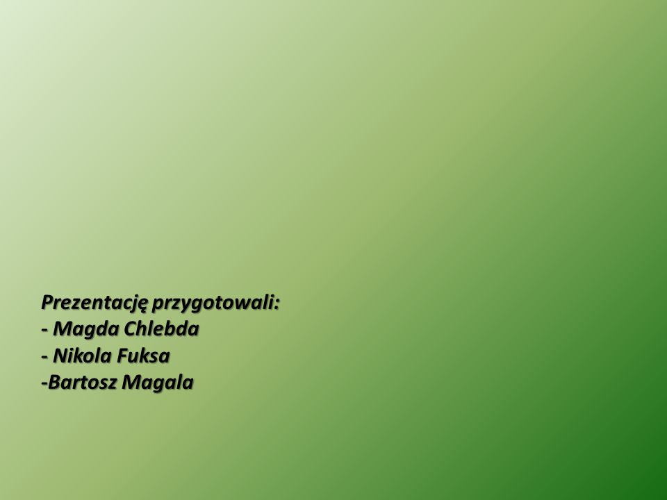 Prezentację przygotowali: - Magda Chlebda - Nikola Fuksa -Bartosz Magala