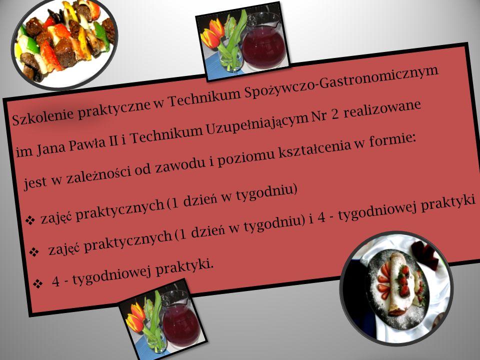 Szkolenie praktyczne w Technikum Spo ż ywczo-Gastronomicznym im Jana Paw ł a II i Technikum Uzupe ł niaj ą cym Nr 2 realizowane jest w zale ż no ś ci od zawodu i poziomu kszta ł cenia w formie: zaj ęć praktycznych (1 dzie ń w tygodniu) zaj ęć praktycznych (1 dzie ń w tygodniu) i 4 - tygodniowej praktyki 4 - tygodniowej praktyki.
