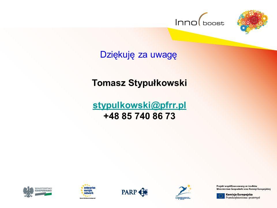 Dziękuję za uwagę Tomasz Stypułkowski stypulkowski@pfrr.pl +48 85 740 86 73