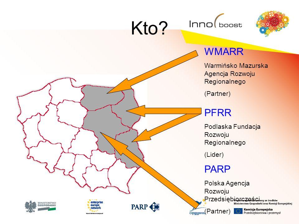 Kto? WMARR Warmińsko Mazurska Agencja Rozwoju Regionalnego (Partner) PFRR Podlaska Fundacja Rozwoju Regionalnego (Lider) PARP Polska Agencja Rozwoju P
