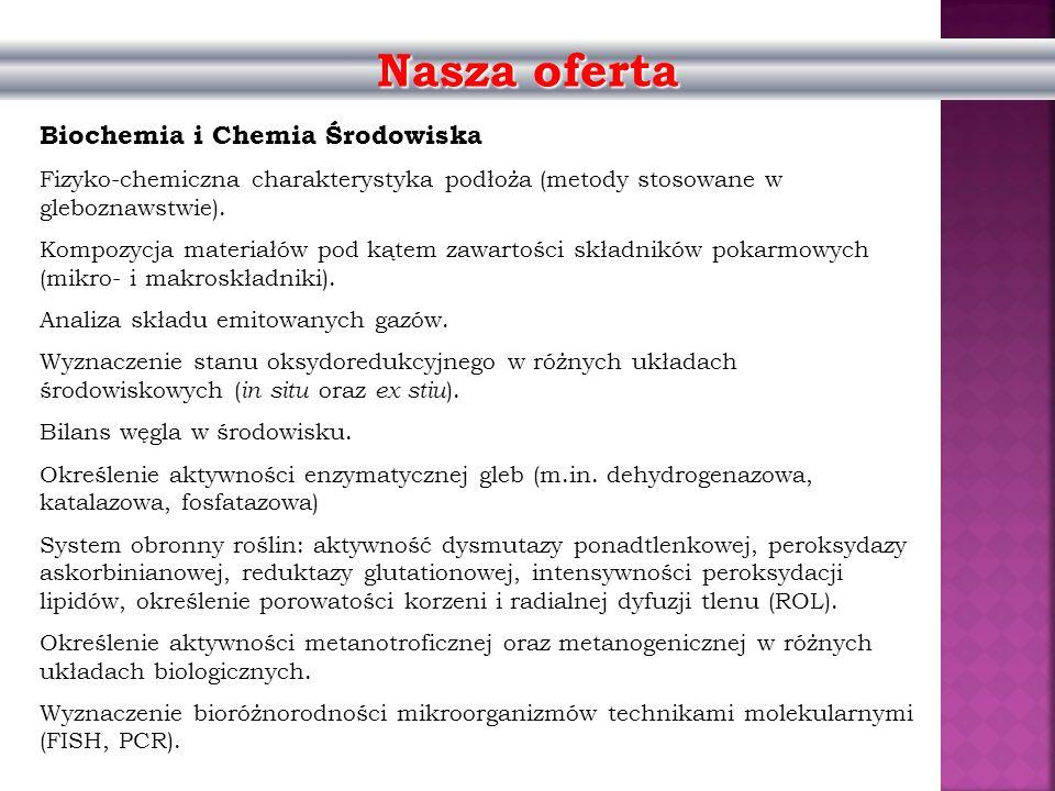 Nasza oferta Biochemia i Chemia Środowiska Fizyko-chemiczna charakterystyka podłoża (metody stosowane w gleboznawstwie). Kompozycja materiałów pod kąt