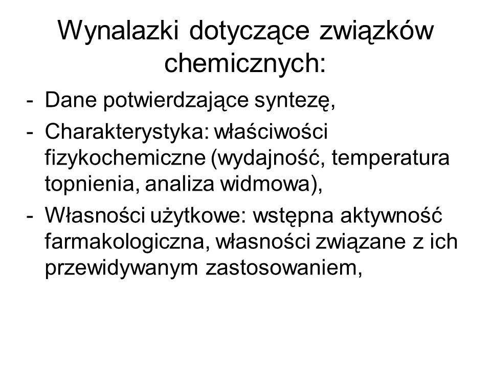 Wynalazki dotyczące związków chemicznych: -Dane potwierdzające syntezę, -Charakterystyka: właściwości fizykochemiczne (wydajność, temperatura topnieni