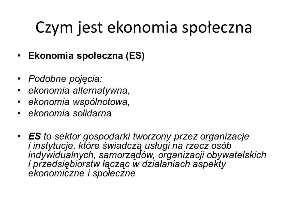 Czym jest ekonomia społeczna Ekonomia społeczna (ES) Podobne pojęcia: ekonomia alternatywna, ekonomia wspólnotowa, ekonomia solidarna ES to sektor gospodarki tworzony przez organizacje i instytucje, które świadczą usługi na rzecz osób indywidualnych, samorządów, organizacji obywatelskich i przedsiębiorstw łącząc w działaniach aspekty ekonomiczne i społeczne
