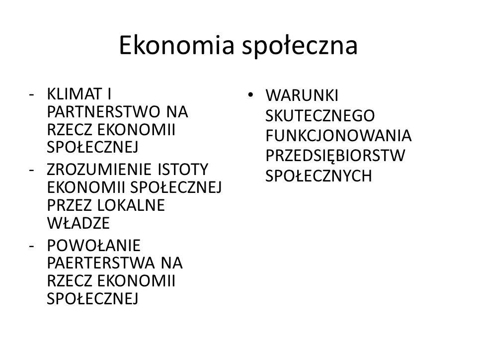 Ekonomia społeczna –szansa na rozwój Budowanie wizerunku marki – EKONOMIA SPOŁECZNA Włączenie partnerów społecznych, biznesowych i administracyjnych do inicjatyw ES Edukacja przedstawicieli samorządów lokalnych z zakresu możliwości wspierania ES