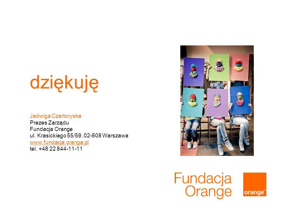 dziękuję Jadwiga Czartoryska Prezes Zarządu Fundacja Orange ul. Krasickiego 55/59, 02-608 Warszawa www.fundacja.orange.pl tel. +48 22 844-11-11 www.fu