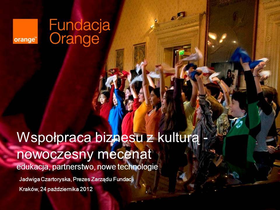 Wspołpraca biznesu z kulturą - nowoczesny mecenat edukacja, partnerstwo, nowe technologie Jadwiga Czartoryska, Prezes Zarządu Fundacji Kraków, 24 października 2012