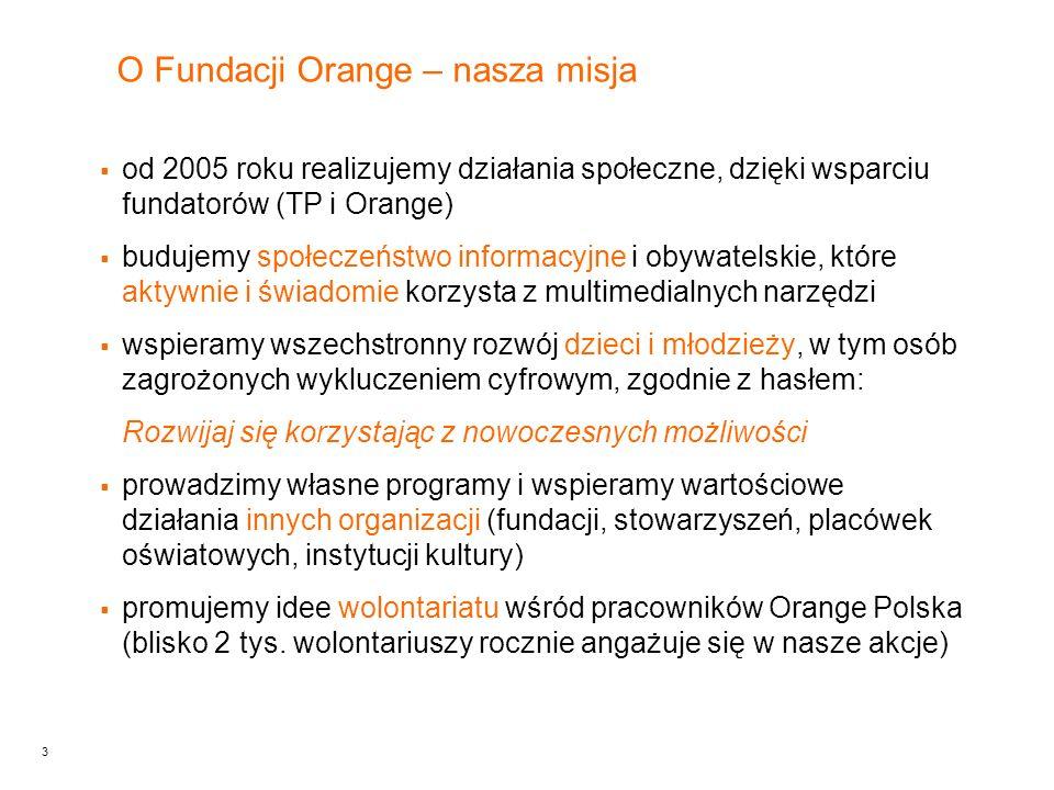 3 O Fundacji Orange – nasza misja od 2005 roku realizujemy działania społeczne, dzięki wsparciu fundatorów (TP i Orange) budujemy społeczeństwo informacyjne i obywatelskie, które aktywnie i świadomie korzysta z multimedialnych narzędzi wspieramy wszechstronny rozwój dzieci i młodzieży, w tym osób zagrożonych wykluczeniem cyfrowym, zgodnie z hasłem: Rozwijaj się korzystając z nowoczesnych możliwości prowadzimy własne programy i wspieramy wartościowe działania innych organizacji (fundacji, stowarzyszeń, placówek oświatowych, instytucji kultury) promujemy idee wolontariatu wśród pracowników Orange Polska (blisko 2 tys.