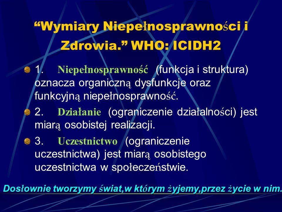 Wymiary Niepe ł nosprawno ś ci i Zdrowia.WHO: ICIDH2 1.