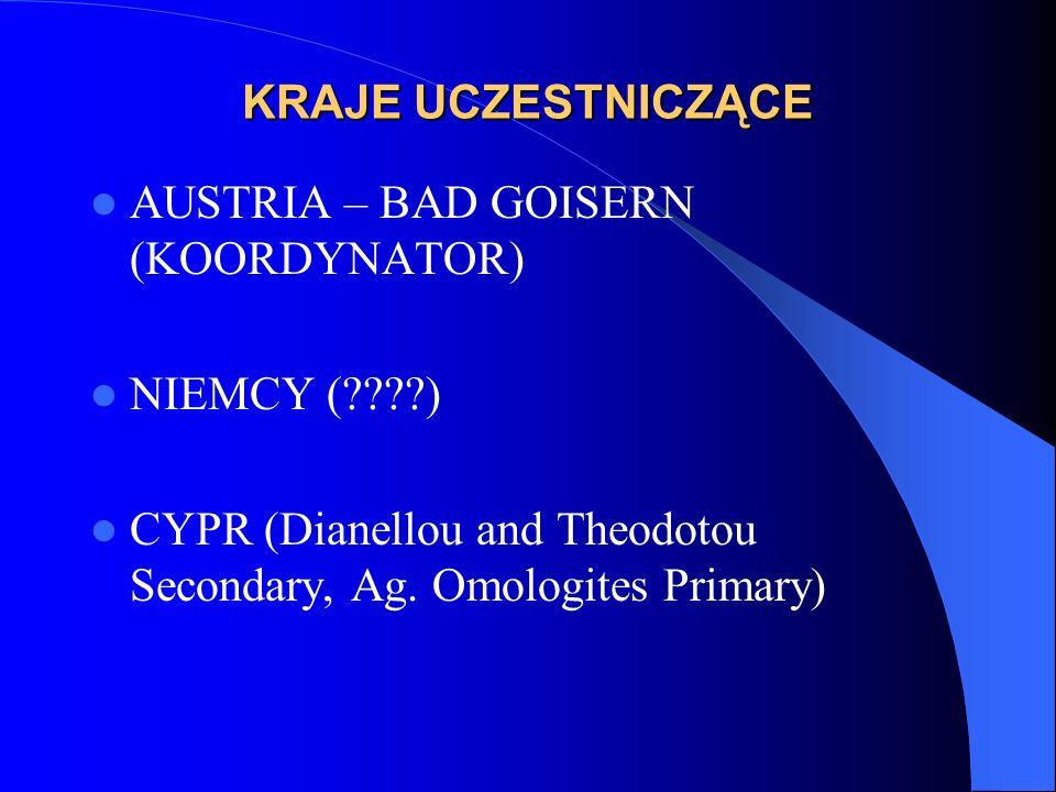 KRAJE UCZESTNICZĄCE AUSTRIA – BAD GOISERN (KOORDYNATOR) NIEMCY (????) CYPR (Dianellou and Theodotou Secondary, Ag. Omologites Primary)