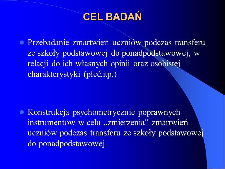 CEL BADAŃ Przebadanie zmartwie ń uczni ó w podczas transferu ze szko ł y podstawowej do ponadpodstawowej, w relacji do ich w ł asnych opinii oraz osobistej charakterystyki (p ł e ć,itp.) Konstrukcja psychometrycznie poprawnych instrument ó w w celu zmierzenia zmartwie ń uczni ó w podczas transferu ze szko ł y podstawowej do ponadpodstawowej.