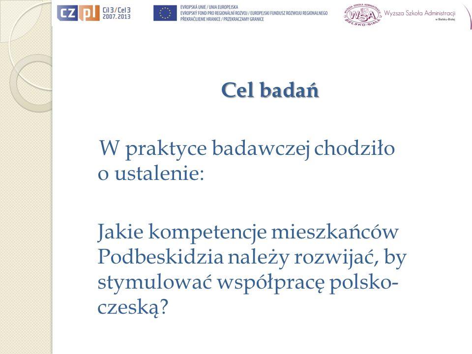 Cel badań W praktyce badawczej chodziło o ustalenie: Jakie kompetencje mieszkańców Podbeskidzia należy rozwijać, by stymulować współpracę polsko- czeską