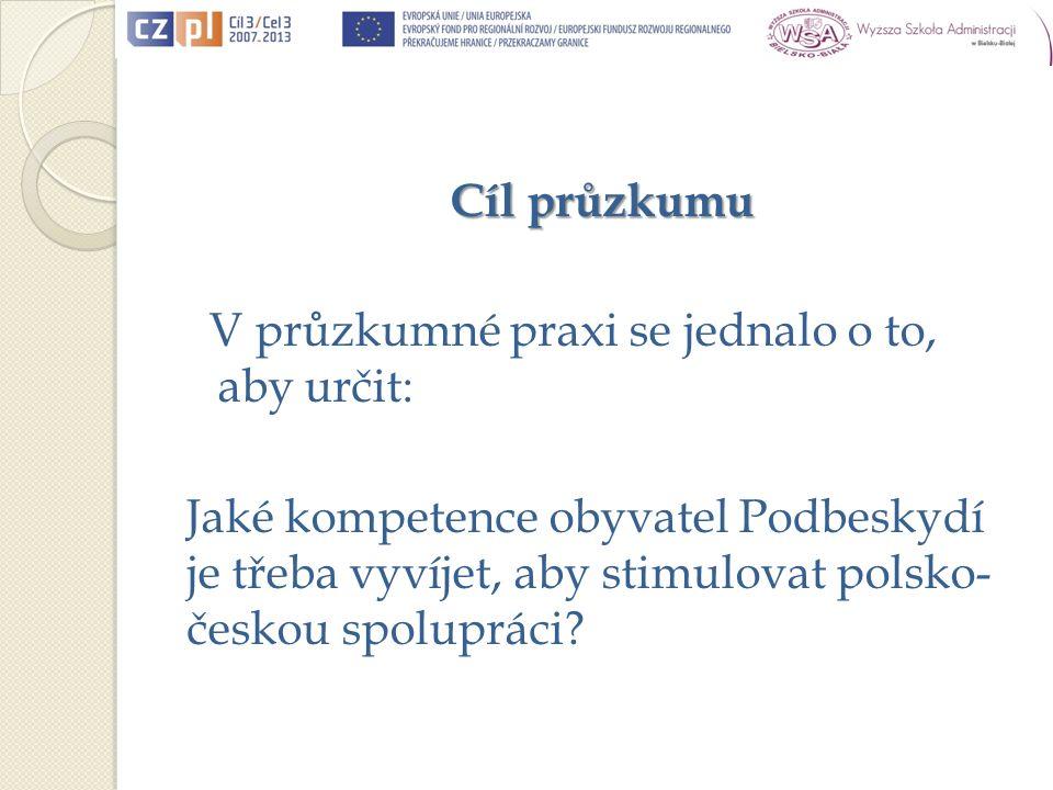 Cíl průzkumu V průzkumné praxi se jednalo o to, aby určit: Jaké kompetence obyvatel Podbeskydí je třeba vyvíjet, aby stimulovat polsko- českou spolupráci