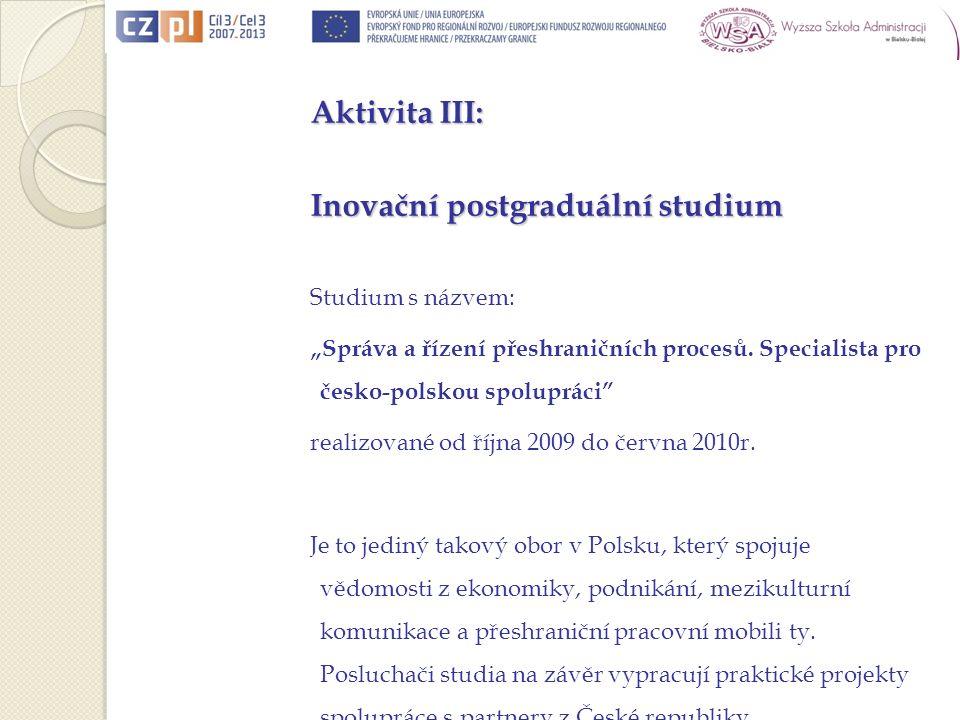 Aktivita III: Inovační postgraduální studium Studium s názvem: Správa a řízení přeshraničních procesů.