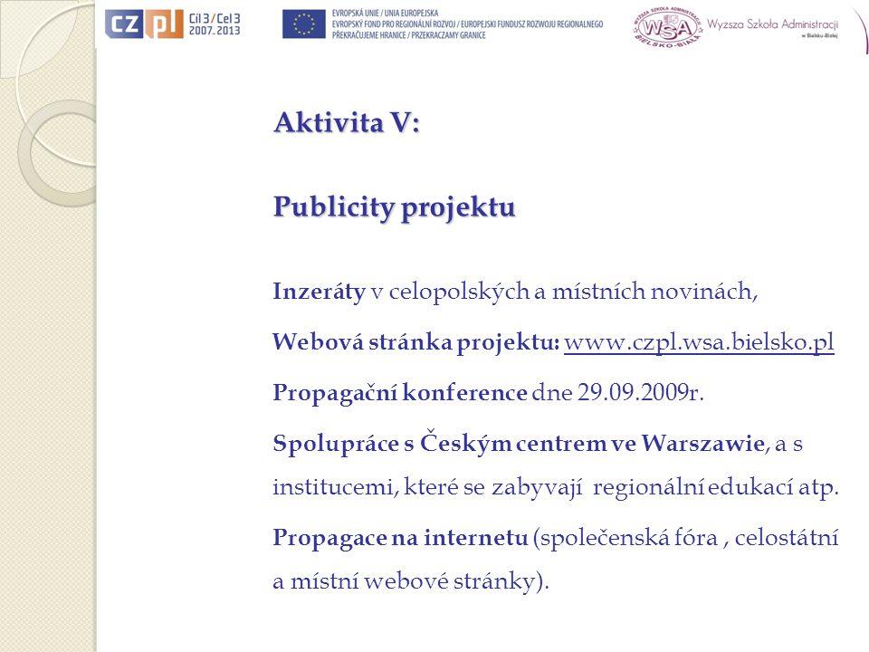 Aktivita V: Publicity projektu Inzeráty v celopolských a místních novinách, Webová stránka projektu: www.czpl.wsa.bielsko.pl Propagační konference dne 29.09.2009r.