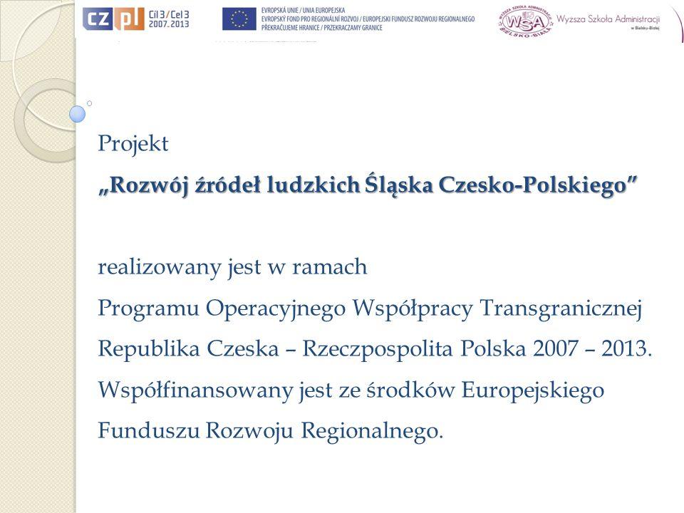 Projekt Rozwój źródeł ludzkich Śląska Czesko-Polskiego realizowany jest w ramach Programu Operacyjnego Współpracy Transgranicznej Republika Czeska – Rzeczpospolita Polska 2007 – 2013.