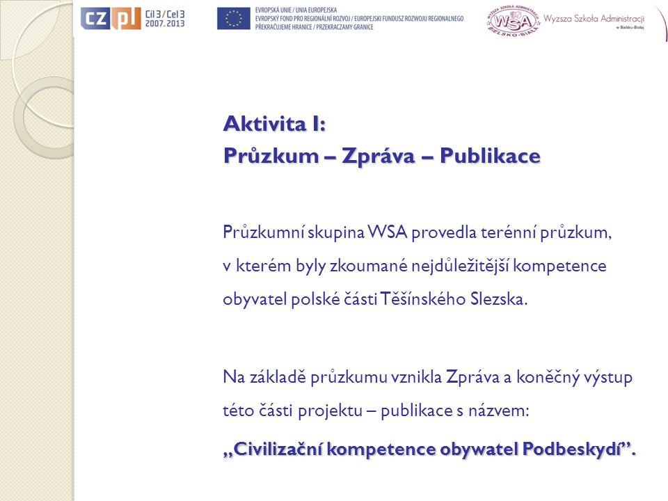 Aktivita I: Průzkum – Zpráva – Publikace Průzkumní skupina WSA provedla terénní průzkum, v kterém byly zkoumané nejdůležitější kompetence obyvatel pol