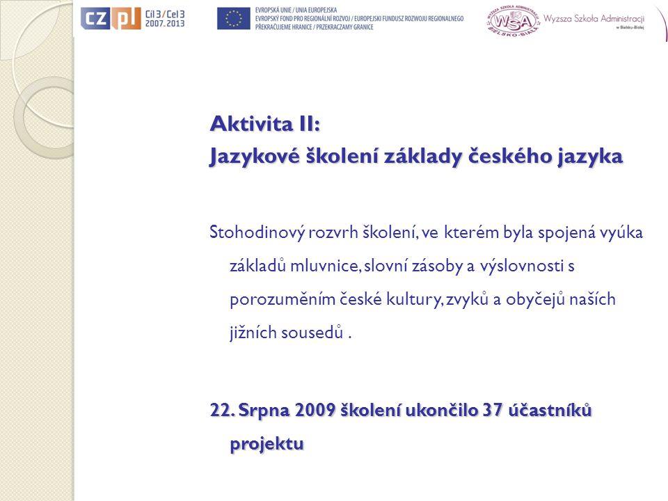 Aktivita II: Jazykové školení základy českého jazyka Stohodinový rozvrh školení, ve kterém byla spojená vyúka základů mluvnice, slovní zásoby a výslov