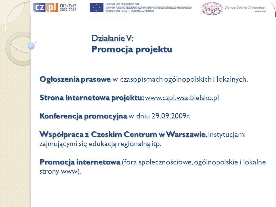 Ogłoszenia prasowe Ogłoszenia prasowe w czasopismach ogólnopolskich i lokalnych, Strona internetowa projektu: Strona internetowa projektu: www.czpl.ws