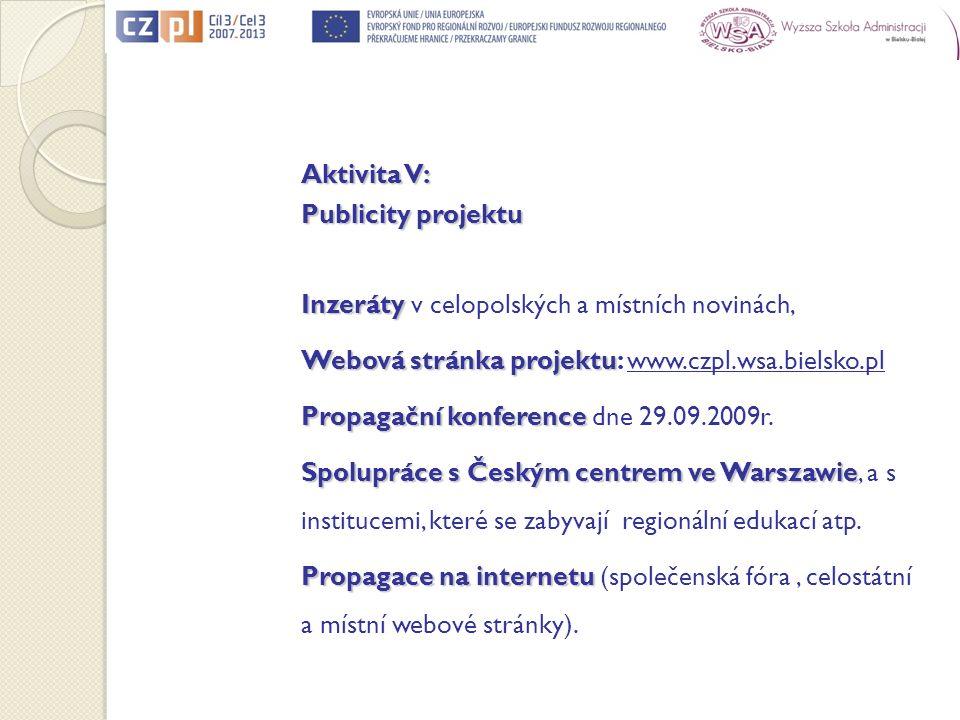 Aktivita V: Publicity projektu Inzeráty Inzeráty v celopolských a místních novinách, Webová stránka projektu Webová stránka projektu: www.czpl.wsa.bie