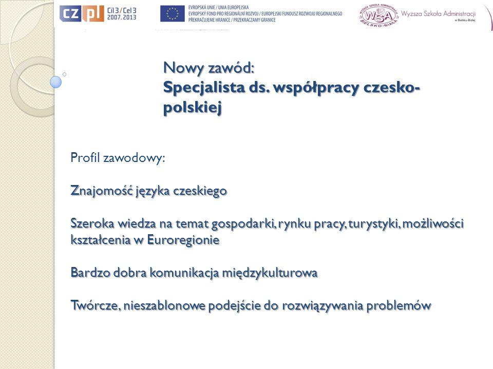 Profil zawodowy: Znajomość języka czeskiego Szeroka wiedza na temat gospodarki, rynku pracy, turystyki, możliwości kształcenia w Euroregionie Bardzo d