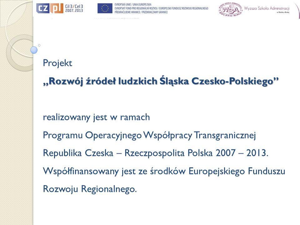 Projekt Rozwój źródeł ludzkich Śląska Czesko-Polskiego realizowany jest w ramach Programu Operacyjnego Współpracy Transgranicznej Republika Czeska – R